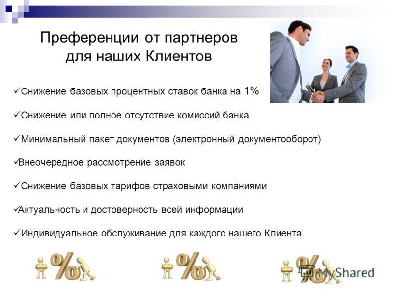 Преференции от партнеров для наших Клиентов Снижение базовых процентных ставок банка на 1% Снижение или полное отсутствие комиссий банка Минимальный пакет документов (электронный документооборот) Внеочередное рассмотрение заявок Снижение базовых тари