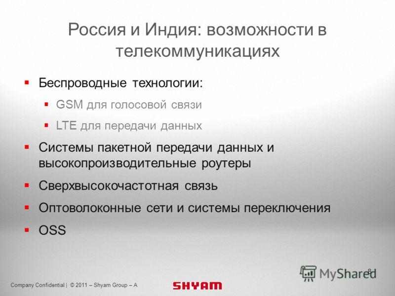 Body text 24pt Myriad Pro Footer 8pt Myriad Pro Header 32pt Myriad Pro Bold Company Confidential | © 2011 – Shyam Group – A Россия и Индия: возможности в телекоммуникациях Беспроводные технологии: GSM для голосовой связи LTE для передачи данных Систе