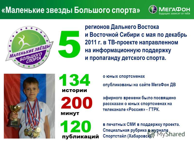 «Маленькие звезды Большого спорта» 134 о юных спортсменах опубликованы на сайте МегаФон ДВ 200 истории минут эфирного времени было посвящено рассказам о юных спортсменах на телеканале «Россия» - ГТРК. 120 публикаций в печатных СМИ в поддержку проекта
