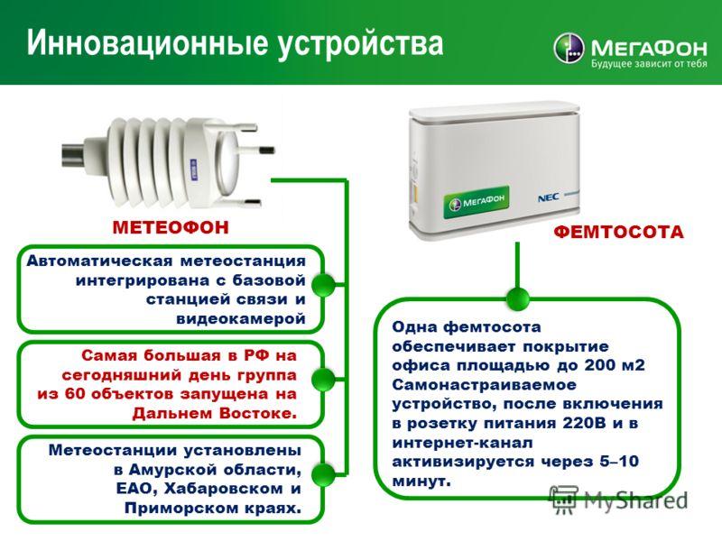 32 Инновационные устройства Одна фемтосота обеспечивает покрытие офиса площадью до 200 м2 Самонастраиваемое устройство, после включения в розетку питания 220В и в интернет-канал активизируется через 5–10 минут. Самая большая в РФ на сегодняшний день
