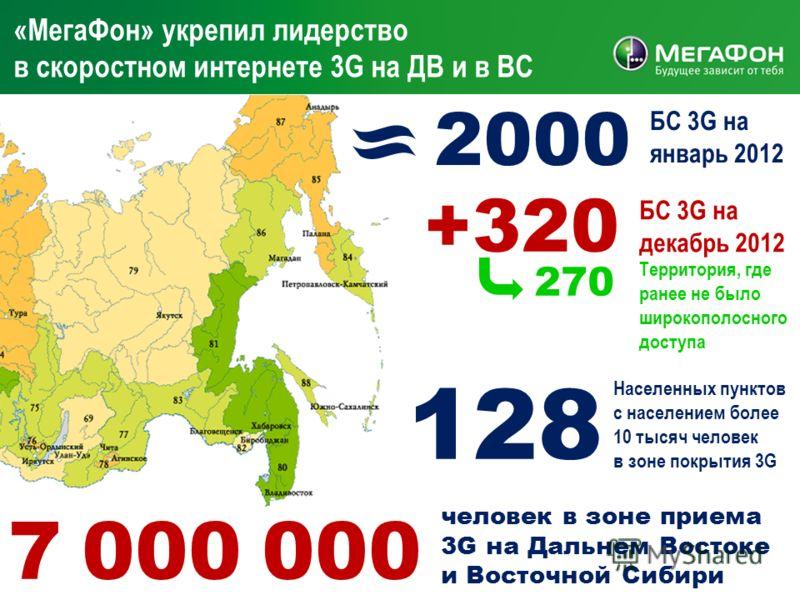 9 «МегаФон» укрепил лидерство в скоростном интернете 3G на ДВ и в ВС 2000 БС 3G на январь 2012 +320 БС 3G на декабрь 2012 Территория, где ранее не было широкополосного доступа 270 Населенных пунктов с населением более 10 тысяч человек в зоне покрытия