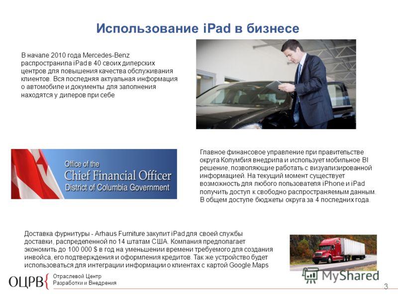 3 Отраслевой Центр Разработки и Внедрения Использование iPad в бизнесе В начале 2010 года Mercedes-Benz распространила iPad в 40 своих дилерских центров для повышения качества обслуживания клиентов. Вся последняя актуальная информация о автомобиле и