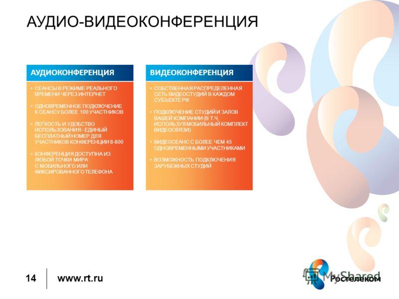 www.rt.ru АУДИО-ВИДЕОКОНФЕРЕНЦИЯ 14 АУДИОКОНФЕРЕНЦИЯ СЕАНСЫ В РЕЖИМЕ РЕАЛЬНОГО ВРЕМЕНИ ЧЕРЕЗ ИНТЕРНЕТ ОДНОВРЕМЕННОЕ ПОДКЛЮЧЕНИЕ К СЕАНСУ БОЛЕЕ 100 УЧАСТНИКОВ ЛЕГКОСТЬ И УДОБСТВО ИСПОЛЬЗОВАНИЯ - ЕДИНЫЙ БЕСПЛАТНЫЙ НОМЕР ДЛЯ УЧАСТНИКОВ КОНФЕРЕНЦИИ 8-800