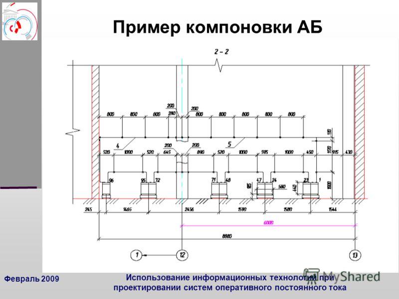 Февраль 2009 Использование информационных технологий при проектировании систем оперативного постоянного тока Пример компоновки АБ