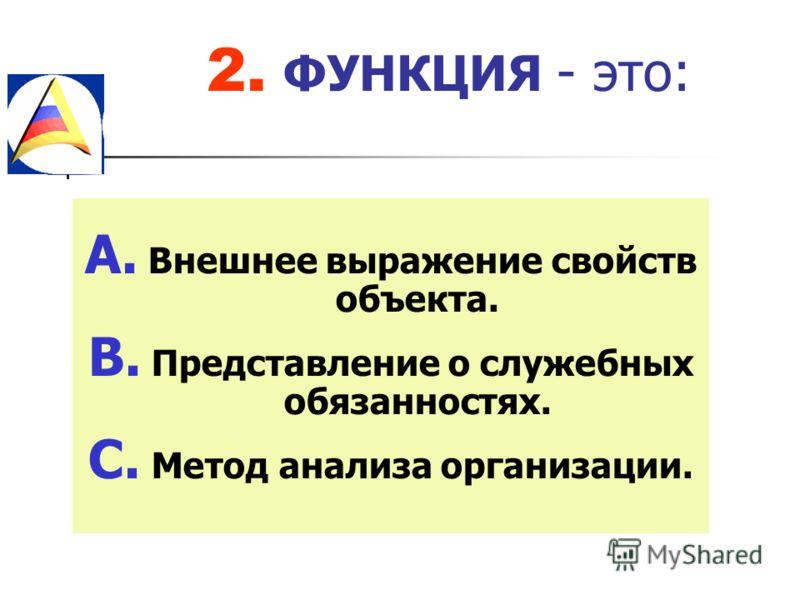 2. ФУНКЦИЯ - это: A. Внешнее выражение свойств объекта. B. Представление о служебных обязанностях. C. Метод анализа организации.