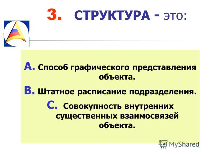 3. СТРУКТУРА - это: A. Способ графического представления объекта. B. Штатное расписание подразделения. C. Совокупность внутренних существенных взаимосвязей объекта.