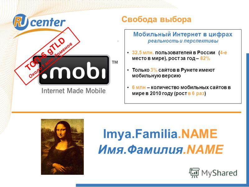 Как работает домен TEL? Свобода выбора ТОП-6 gTLD Около 1 млн. доменов Мобильный Интернет в цифрах реальность и перспективы 32,5 млн. пользователей в России (4-е место в мире), рост за год – 82% Только 3% сайтов в Рунете имеют мобильную версию 6 млн