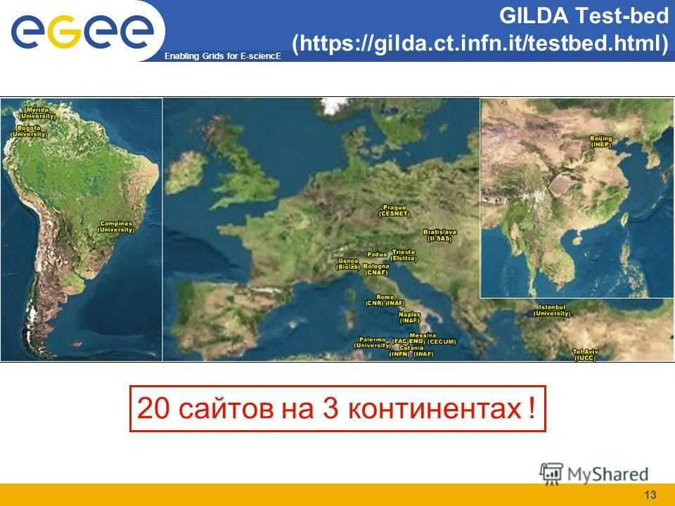Enabling Grids for E-sciencE 13 GILDA Test-bed (https://gilda.ct.infn.it/testbed.html) 20 сайтов на 3 континентах !