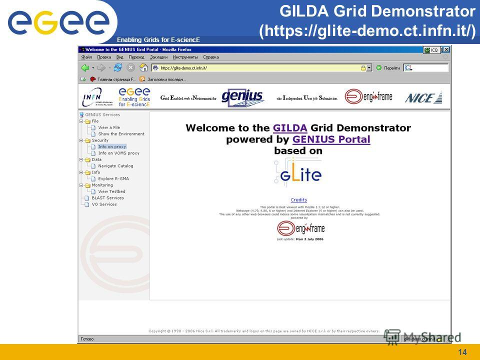Enabling Grids for E-sciencE 14 GILDA Grid Demonstrator (https://glite-demo.ct.infn.it/)