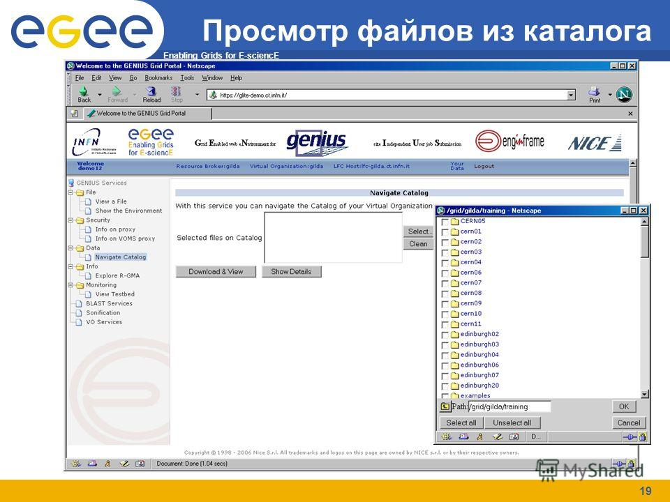 Enabling Grids for E-sciencE 19 Просмотр файлов из каталога