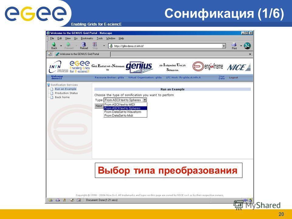 Enabling Grids for E-sciencE 20 Сонификация (1/6) Выбор типа преобразования