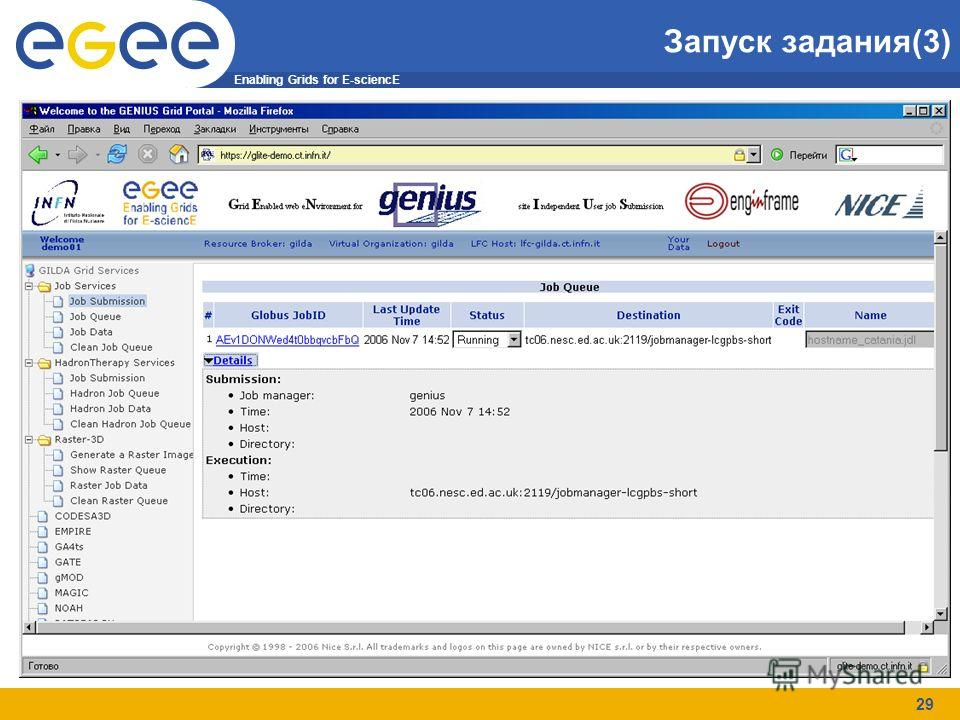 Enabling Grids for E-sciencE 29 Запуск задания(3)