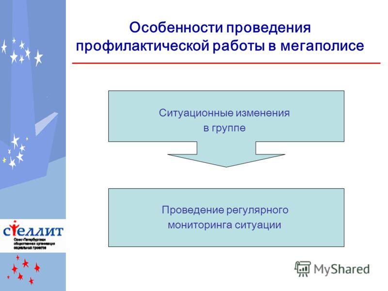 Особенности проведения профилактической работы в мегаполисе Проведение регулярного мониторинга ситуации Ситуационные изменения в группе
