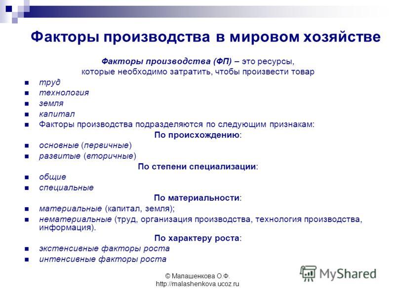 © Малашенкова О.Ф. http://malashenkova.ucoz.ru Факторы производства в мировом хозяйстве Факторы производства (ФП) – это ресурсы, которые необходимо затратить, чтобы произвести товар труд технология земля капитал Факторы производства подразделяются по