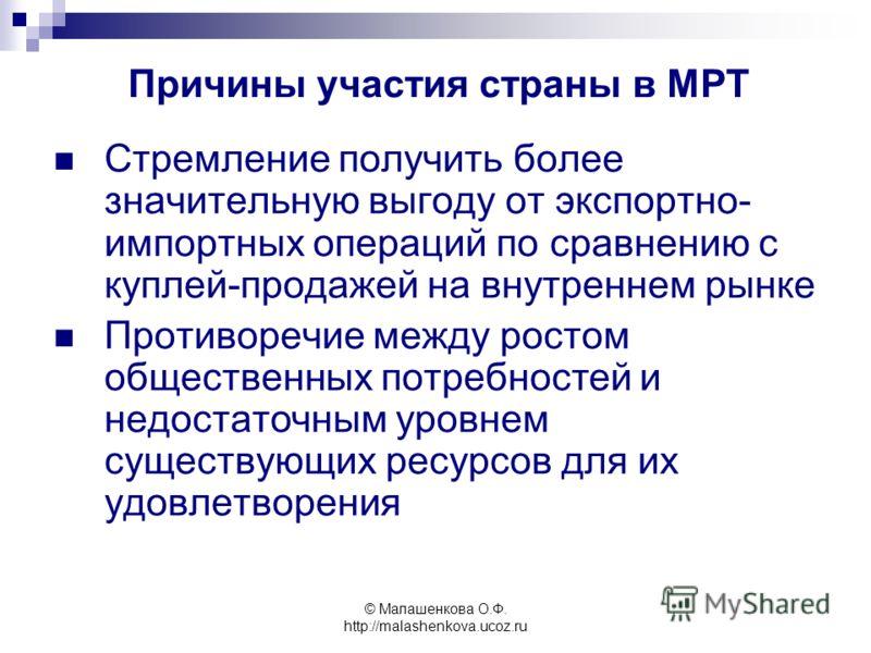 © Малашенкова О.Ф. http://malashenkova.ucoz.ru Стремление получить более значительную выгоду от экспортно- импортных операций по сравнению с куплей-продажей на внутреннем рынке Противоречие между ростом общественных потребностей и недостаточным уровн
