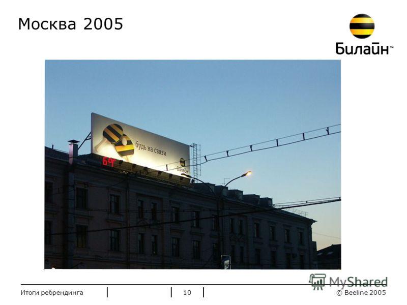 Стандартные цвета Билайн © Beeline 2005Итоги ребрендинга10 Москва 2005