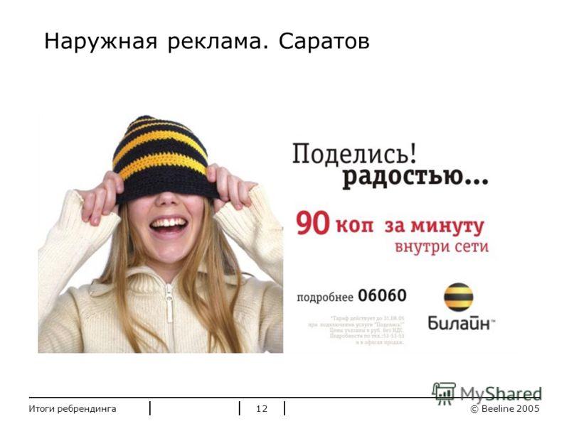 Стандартные цвета Билайн © Beeline 2005Итоги ребрендинга12 Наружная реклама. Саратов