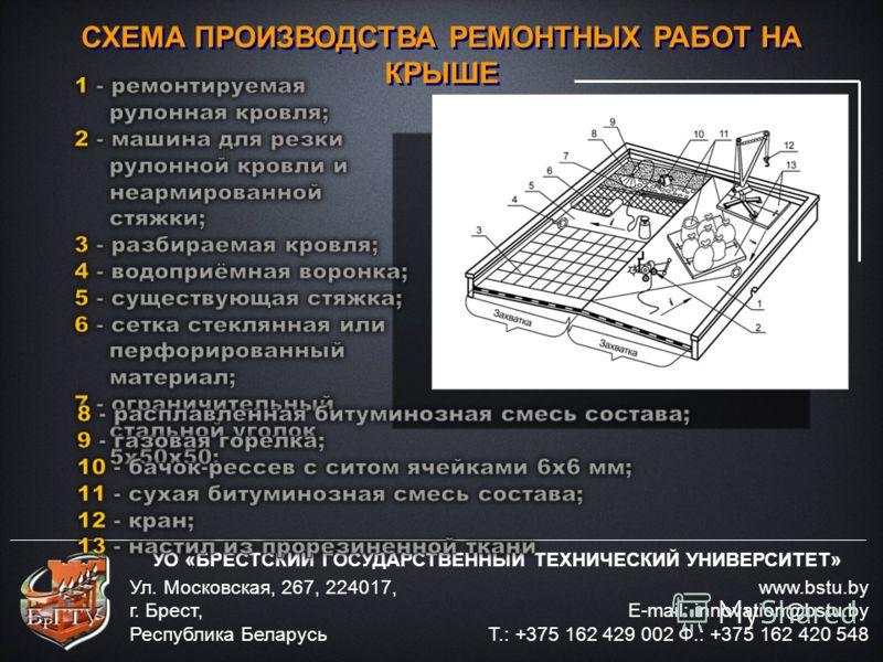 УО «БРЕСТСКИЙ ГОСУДАРСТВЕННЫЙ ТЕХНИЧЕСКИЙ УНИВЕРСИТЕТ» www.bstu.by E-mail: innovation@bstu.by Т.: +375 162 429 002 Ф.: +375 162 420 548 Ул. Московская, 267, 224017, г. Брест, Республика Беларусь СХЕМА ПРОИЗВОДСТВА РЕМОНТНЫХ РАБОТ НА КРЫШЕ