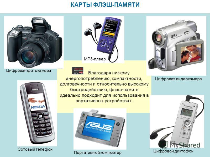 КАРТЫ ФЛЭШ-ПАМЯТИ Благодаря низкому энергопотреблению, компактности, долговечности и относительно высокому быстродействию, флэш-память идеально подходит для использования в портативных устройствах. Цифровая фотокамера МР3-плеер Портативный компьютер