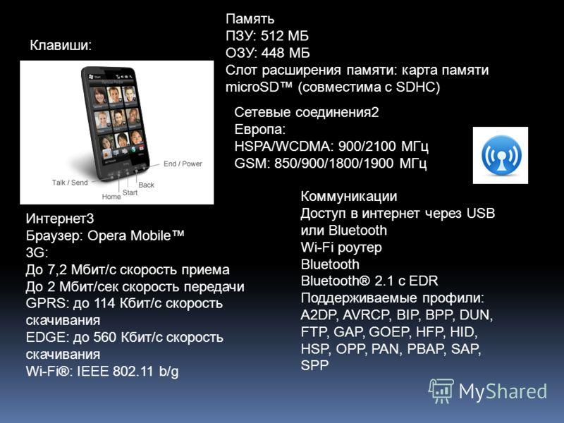 Клавиши: Память ПЗУ: 512 МБ ОЗУ: 448 МБ Слот расширения памяти: карта памяти microSD (совместима с SDHC) Сетевые соединения2 Европа: HSPA/WCDMA: 900/2100 MГц GSM: 850/900/1800/1900 MГц Интернет3 Браузер: Opera Mobile 3G: До 7,2 Mбит/с скорость приема