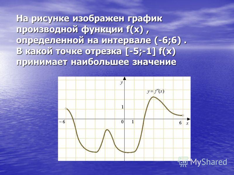 На рисунке изображен график производной функции f(x), определенной на интервале (-6;6). В какой точке отрезка [-5;-1] f(x) принимает наибольшее значение