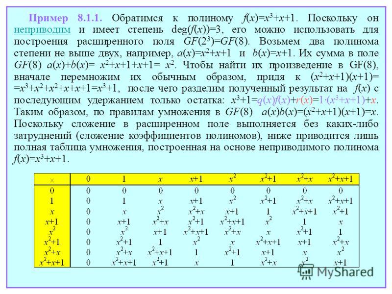 Пример 8.1.1. Обратимся к полиному f(x)=x 3 +x+1. Поскольку он неприводим и имеет степень deg(f(x))=3, его можно использовать для построения расширенного поля GF(2 3 )=GF(8). Возьмем два полинома степени не выше двух, например, a(x)=x 2 +x+1 и b(x)=x