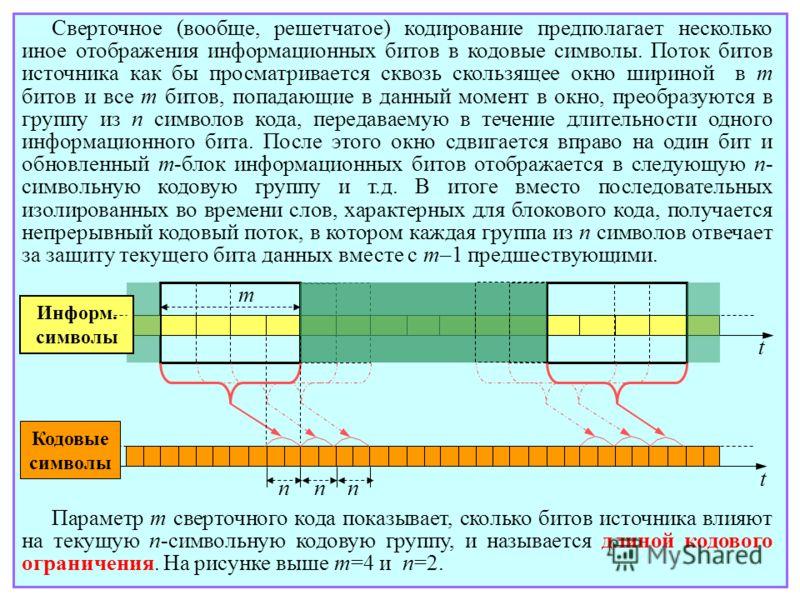 Сверточное (вообще, решетчатое) кодирование предполагает несколько иное отображения информационных битов в кодовые символы. Поток битов источника как бы просматривается сквозь скользящее окно шириной в m битов и все m битов, попадающие в данный момен