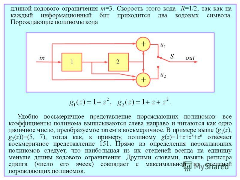 длиной кодового ограничения m=3. Скорость этого кода R=1/2, так как на каждый информационный бит приходится два кодовых символа. Порождающие полиномы кода + + 12 S in out u2u2 u1u1 Удобно восьмеричное представление порождающих полиномов: все коэффици