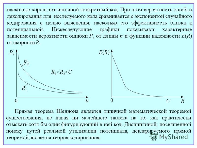 Прямая теорема Шеннона является типичной математической теоремой существования, не давая ни малейшего намека на то, как практически отыскать хотя бы один фигурирующий в ней код. Дисциплиной, посвященной поиску путей реальной утилизации потенциала, де