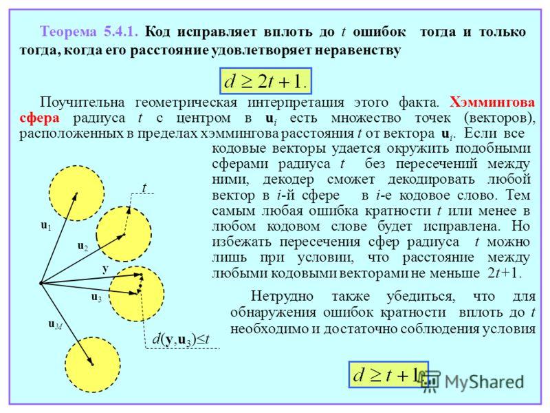 Теорема 5.4.1. Код исправляет вплоть до t ошибок тогда и только тогда, когда его расстояние удовлетворяет неравенству Поучительна геометрическая интерпретация этого факта. Хэммингова сфера радиуса t с центром в u i есть множество точек (векторов), ра