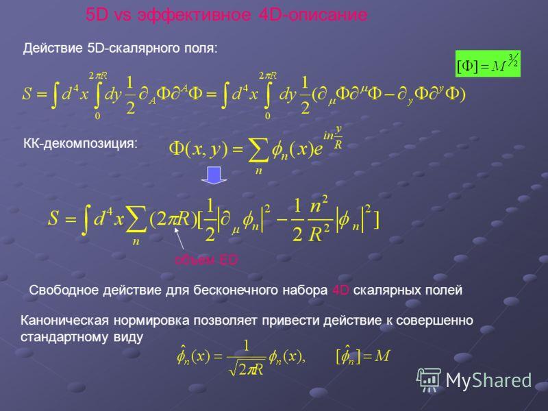 5D vs эффективное 4D-описание Действие 5D-скалярного поля: КК-декомпозиция: объем ED Свободное действие для бесконечного набора 4D скалярных полей Каноническая нормировка позволяет привести действие к совершенно стандартному виду