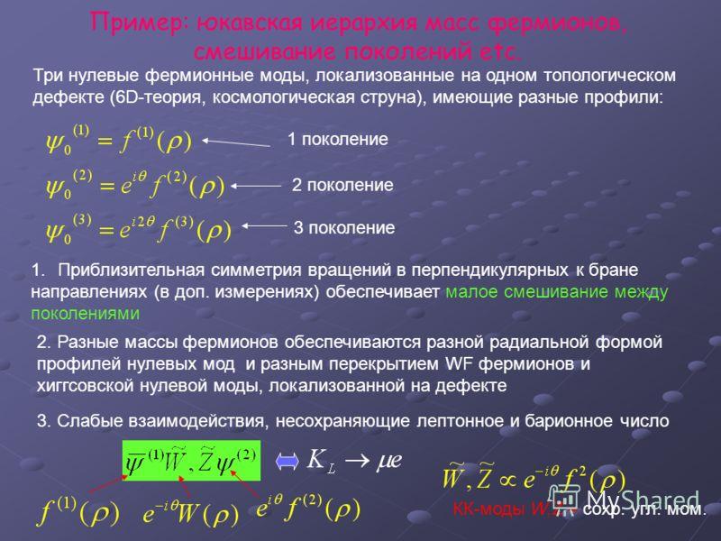 Пример: юкавская иерархия масс фермионов, смешивание поколений etc. Три нулевые фермионные моды, локализованные на одном топологическом дефекте (6D-теория, космологическая струна), имеющие разные профили: 1 поколение 2 поколение 3 поколение 1.Приблиз