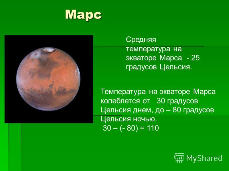 Марс Марс Средняя температура на экваторе Марса - 25 градусов Цельсия. Температура на экваторе Марса колеблется от 30 градусов Цельсия днем, до – 80 градусов Цельсия ночью. 30 – (- 80) = 110