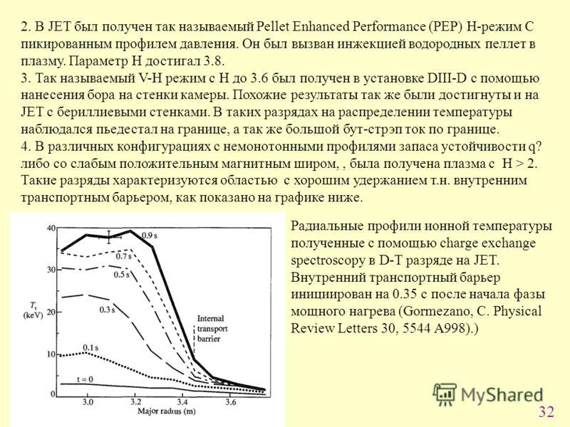 32 2. В JET был получен так называемый Pellet Enhanced Performance (PEP) H-режим С пикированным профилем давления. Он был вызван инжекцией водородных пеллет в плазму. Параметр H достигал 3.8. 3. Так называемый V-H режим с H до 3.6 был получен в устан