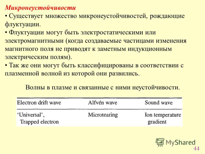 44 Микронеустойчивости Существует множество микронеустойчивостей, рождающие флуктуации. Флуктуации могут быть электростатическими или электромагнитными (когда создаваемые частицами изменения магнитного поля не приводят к заметным индукционным электри