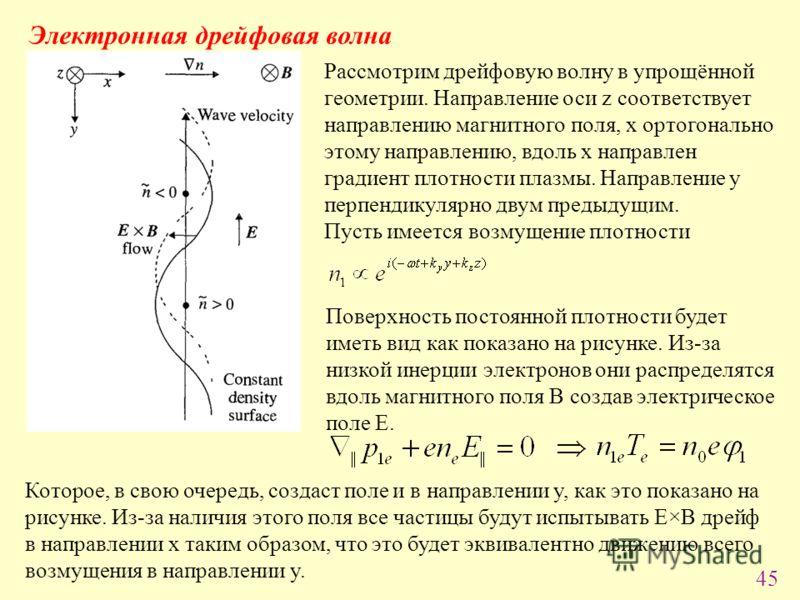 45 Электронная дрейфовая волна Рассмотрим дрейфовую волну в упрощённой геометрии. Направление оси z соответствует направлению магнитного поля, x ортогонально этому направлению, вдоль x направлен градиент плотности плазмы. Направление y перпендикулярн
