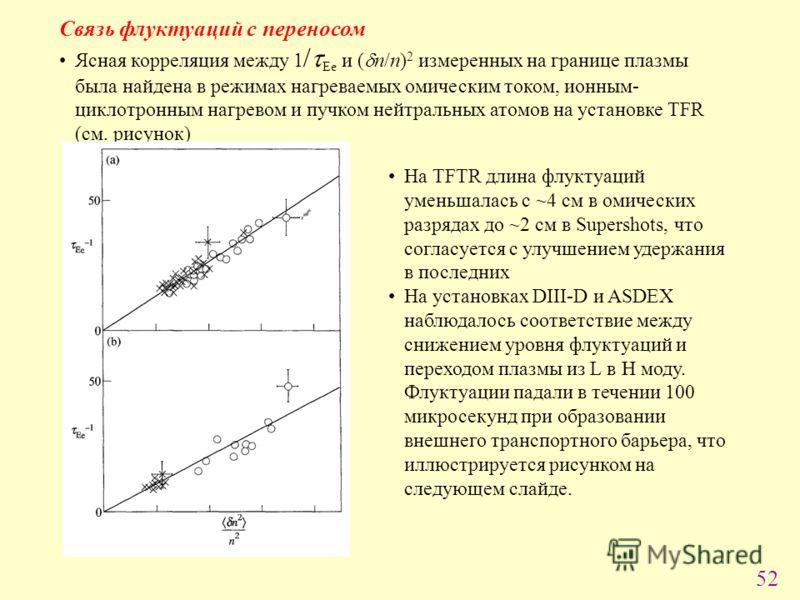 52 Cвязь флуктуаций с переносом Ясная корреляция между 1 / Ee и ( n/n) 2 измеренных на границе плазмы была найдена в режимах нагреваемых омическим током, ионным- циклотронным нагревом и пучком нейтральных атомов на установке TFR (см. рисунок) На TFTR