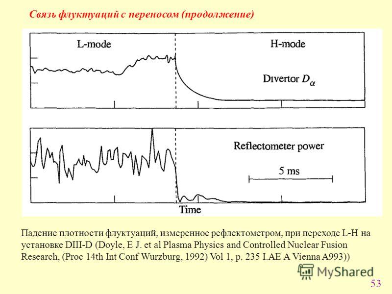 53 Cвязь флуктуаций с переносом (продолжение) Падение плотности флуктуаций, измеренное рефлектометром, при переходе L-H на установке DIII-D (Doyle, E J. et al Plasma Physics and Controlled Nuclear Fusion Research, (Proc 14th Int Conf Wurzburg, 1992)