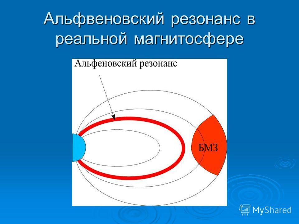 Альфвеновский резонанс в реальной магнитосфере