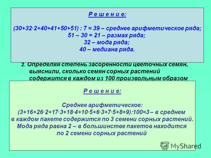 задания 1.Для ряда чисел 30; 32; 32; 40; 41; 50; 51 найдите среднее арифметическое, размах, моду и медиану. 2. Определяя степень засоренности цветочных семян, выяснили, сколько семян сорных растений содержится в каждом из 100 произвольным образом выб