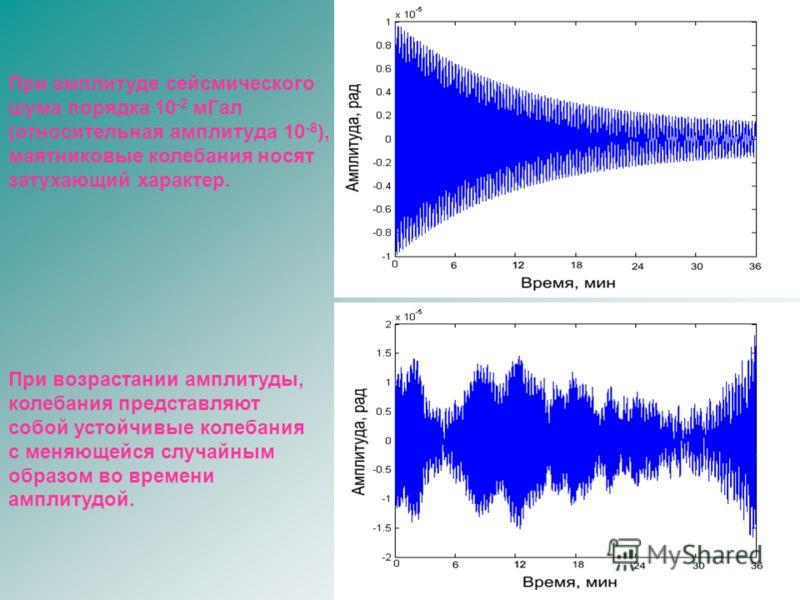 При возрастании амплитуды, колебания представляют собой устойчивые колебания с меняющейся случайным образом во времени амплитудой. При амплитуде сейсмического шума порядка 10 -2 мГал (относительная амплитуда 10 -8 ), маятниковые колебания носят затух