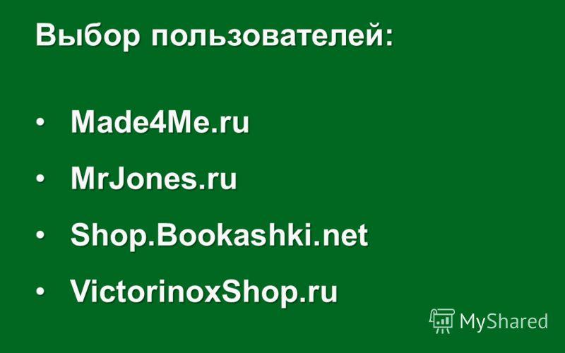Выбор пользователей: Made4Me.ruMade4Me.ru MrJones.ruMrJones.ru Shop.Bookashki.netShop.Bookashki.net VictorinoxShop.ruVictorinoxShop.ru