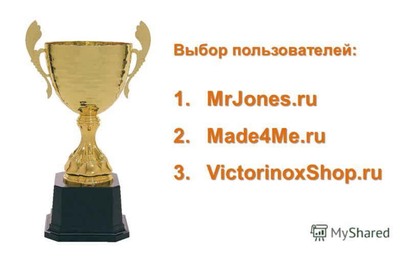Выбор пользователей: 1.MrJones.ru 2.Made4Me.ru 3.VictorinoxShop.ru