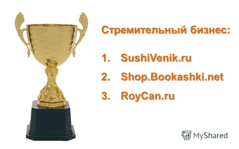 Стремительный бизнес: 1.SushiVenik.ru 2.Shop.Bookashki.net 3.RoyCan.ru