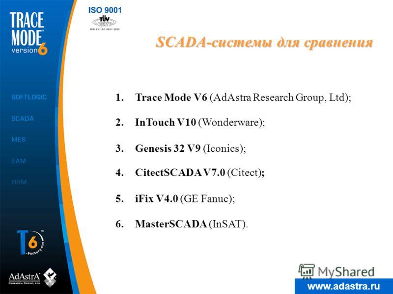 www.adastra.ru SCADA-системы для сравнения 1.Trace Mode V6 (AdAstra Research Group, Ltd); 4.CitectSCADA V7.0 (Citect); 5.iFix V4.0 (GE Fanuc); 2.InTouch V10 (Wonderware); 6.MasterSCADA (InSAT). 3.Genesis 32 V9 (Iconics);