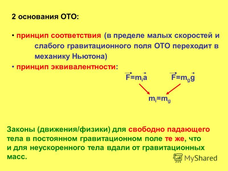 2 основания ОТО: принцип соответствия (в пределе малых скоростей и слабого гравитационного поля ОТО переходит в механику Ньютона) принцип эквивалентности: F=m i aF=m g g m i =m g Законы (движения/физики) для свободно падающего тела в постоянном грави