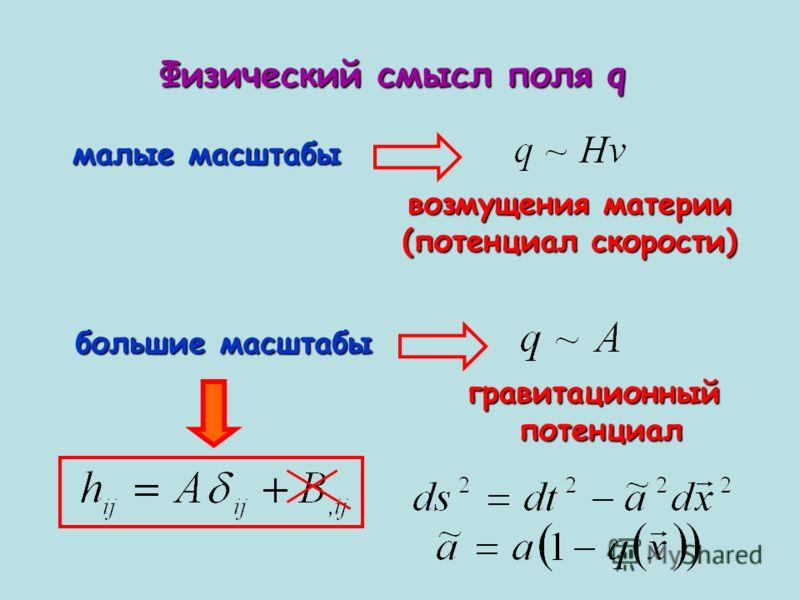 Физический смысл поля q малые масштабы большие масштабы возмущения материи (потенциал скорости) гравитационныйпотенциал