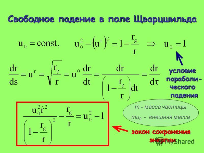 Свободное падение в поле Щварцшильда условиепараболи-ческогопадения закон сохранения энергии m - масса частицы mu 0 - внешняя масса