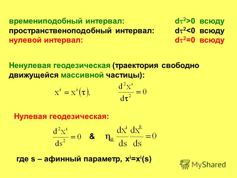 времениподобный интервал:d 2 >0 всюду пространственоподобный интервал:d 2
