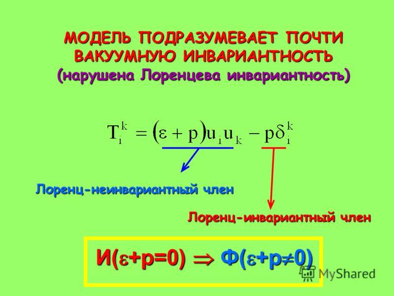 МОДЕЛЬ ПОДРАЗУМЕВАЕТ ПОЧТИ ВАКУУМНУЮ ИНВАРИАНТНОСТЬ (нарушена Лоренцева инвариантность) Лоренц-неинвариантный член Лоренц-инвариантный член И( +p=0) Ф( +p 0)